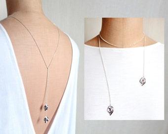eep - Lariat Necklace, Open Necklace, Leaf Pendant, Sterling Silver, Back Necklace