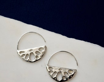 Lotus Earrings Silver Statement Earrings Statement Hoops Silver Hoop Earrings Statement Hoop Earrings