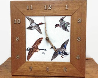 Table Clock with Ducks - Wood & Ceramic