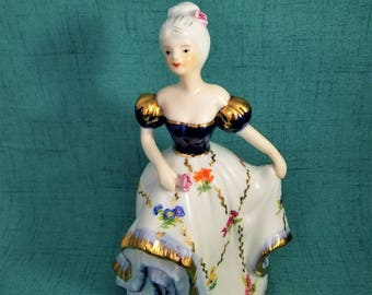 Porcelain Ballroom Dancer Lady Figurine, Southern Belle Girl, Debutante Girl Figurine, Large Girl Figurine in Cinderella Ball Gown,