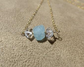 Aquamarine Necklace, Herkimer Necklace, Herkimer Diamond Necklace, White Quartz Necklace, Dainty Necklace, Simple Necklace