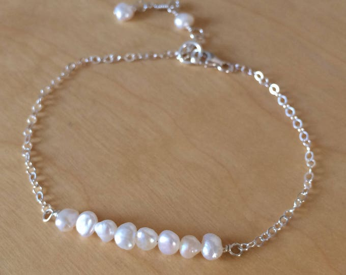 Tiny Freshwater Pearl bracelet - Sterling Silver or 18K Gold Fill - June Birthstone gift