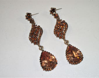 Vintage Amber Dangle Earrings, Amber Rhinestone Earrings, Brown Earrings, Gold Earrings