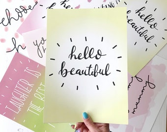 hello beautiful-wall art-home decor-wall hanging-yellow-decor-typography-print-gift for girlfriend-girlfriend gift-gift for friend-pink