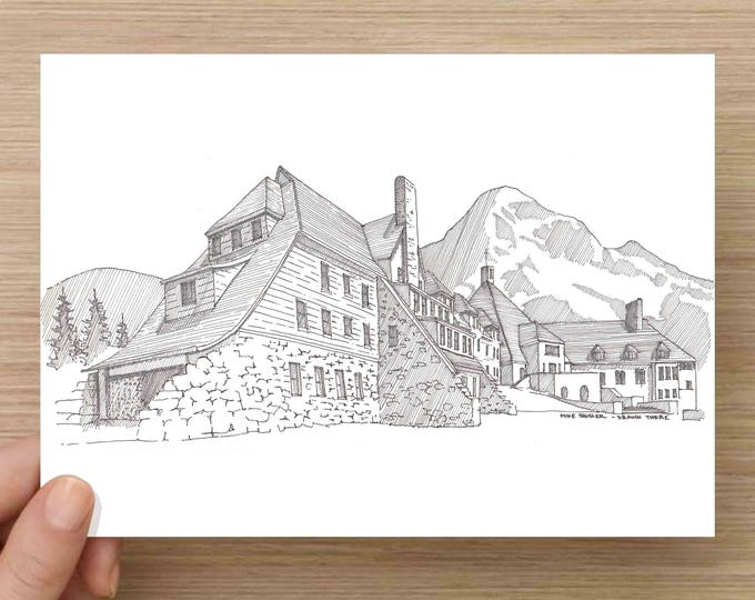 Ink Sketch of Timberline Lodge at Mt. Hood, Oregon - Drawing, Art, Pen and Ink, Ski Resort, Mountain, Winter, Architecture, 5x7, 8x10, Print