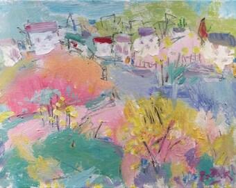 Peinture de printemps coloré avec harbor cove et villages avec un étang d'eau salée par Russ Potak