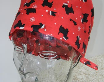 Tie Back Surgical Scrub Hat with Christmas Scottish Terriers on Red
