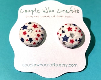 Red, White, and Blue Patriotic Stars Fabric Covered Button Earrings Stud Earrings Fabric Jewelry Fabric Button Earrings Button Studs Posts