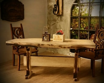 Miniature dollhouse farm table made from spalted sycamore hardwood 1:12 scale part of the Reclaimed Farmhouse Collection