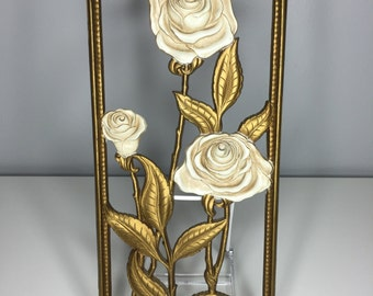 SALE! set of FOUR plastic vintage Dart, Ind. cream and gold wall flower plaques 1955