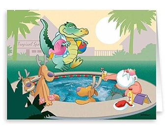 Aligator Unwelcome Guest - Funny Christmas Cards - 18 Cards & Envelopes - 30064