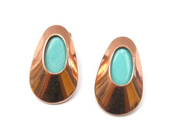 Copper Leaf  Earrings -  turquoise Blue  Enamel and Copper Leaf  - Signed Matisse Mid Century - modern coned Renoir