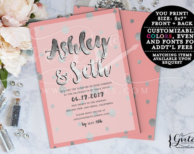 Coral and silver invitations, gray silver wedding invitation printable, spring invites, glitz and glam fashion designer, double sided, 5x7.