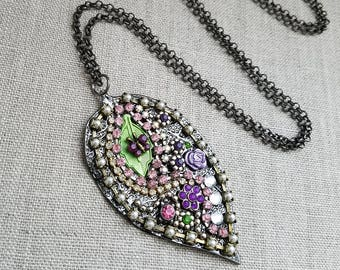 Leaf Fairy Pendant Necklace, GOA BOHO Necklace, Mosaic Rhinestone Necklace, Long Chain Leaf Pendant Necklace, Nature  Botanical Jewelry OOAK