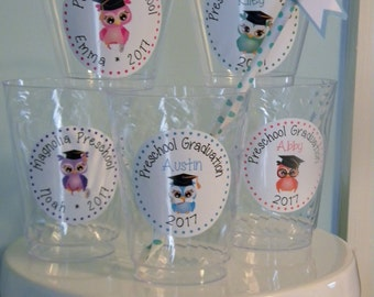 "Graduation Favors - 2.5"" Personalized Graduation Cup Stickers - Graduation Party Favor Stickers - Graduation Cup Stickers - Preschool Owls"