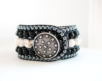 Starry Night Gemstone Beaded Leather Cuff Bracelet - Black Beauty- Made to Order