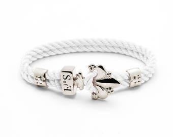 Fleur de Lis Bracelet Silver with White Marine Rope (free shipping)