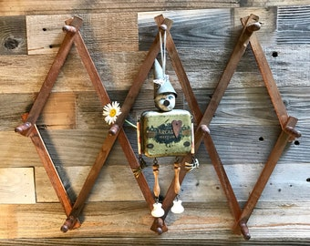 Vintage Accordion PEG RACK- Wooden Folding Hanger- Expanding- Folding Organizer- Front Hall Hanger- Farmhouse Decor