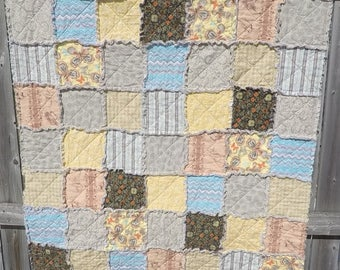 Neutral Colors Rag Quilt with Surprise Design on the Back!