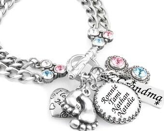 Mother's Charm Bracelet, Mom Jewelry, Nana Bracelet, Grandmother Bracelet, Personalized Mother's Bracelet, Keepsake Mother's Jewelry