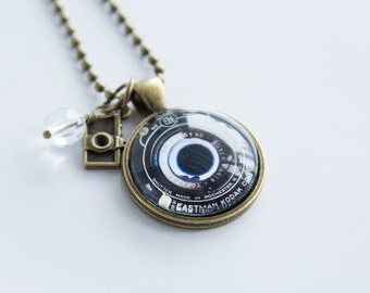 Camera Lens Necklace - Photography Jewelry - Gift For Photographer - Camera Pendant - Photog Necklace - Camera Lens Vintage Black Photo