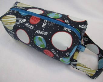 GLOW in the DARK Astronomy Planets surprise Plutoed embroidery inside - Cosmetic Bag Makeup Bag LARGE