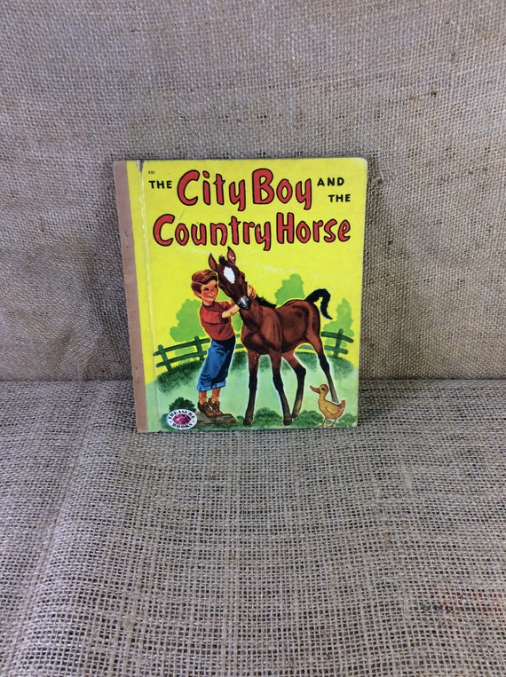 The City Boy and The Country Horse from 1952 written by Charlotte Bookman A Treasure Book, vintage children's book, cowboy