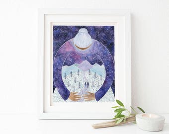 Mother of Exiles Art Print / Watercolor / Art Print / No Ban No Wall / Feminist Gifts / Feminism Art Print / Gifts for Her / Resistance Gift