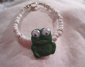White Bracelet Frog Charm Jewelry Green and White Jewellery Children Beaded Google Eyes Silver Nature Fun Everyday