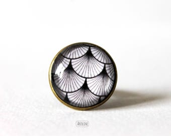 Ring cabochon 20mm wave Vintage Retro Japanese