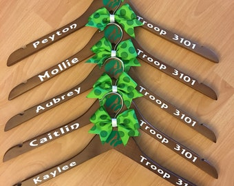 Personalized Girl Scout Vest Hanger, Daisy, Brownie, Junior, tunic hanger,
