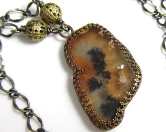 Autumn Woods Necklace - Dendritic Agate in Bras