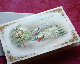 Vintage Coronation Glitter Christmas Card, Country Sleigh Ride, 1940's -50's Un-Used, with Envelope, Die Cut, Embossed