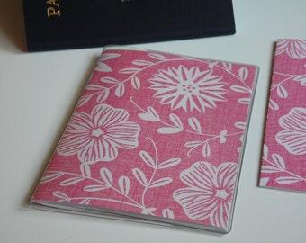 Pink Passport Cover, Passport  Sleeve, Case, Holder, Pink & White Flowers