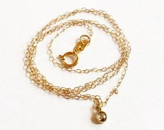 Darling 3mm rosecut diamond 18K Yellow Gold bezel set necklace pendant chain minimalist jewelry