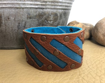 Western Style Turquoise and Brown Leather Cuff Bracelet with Copper Rivets and Snap
