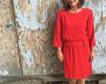 1940s vintage dress/ Vintage red dress / back button dress / vintage dress