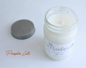 PUMPKIN LATTE 12oz   Hand-Poured Soy Wax   Fall Candle Scent