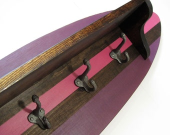"Pink Wood Surfboard Shelf Coat Rack 28"" NAUTICAL SURFER"
