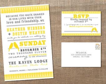 2 Little Yellow Birds - Wedding Invitation
