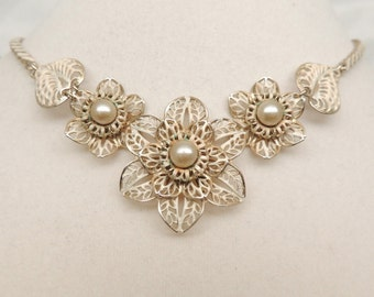 Vintage Enamel Filigree Flower Necklace