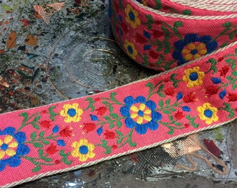 """Floral Multi Colored Print on Pink with Natural White Edges - Embroidered Cotton Jacquard Ribbon - 2"""" Wide, Vintage"""