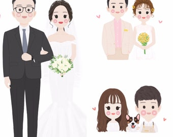 Custom Wedding Illustration, Couple Portrait, bride and groom illustration, Unique Wedding Gift, Wedding Logo