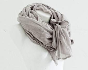 Pure Linen Scarf Extra Long / Natural Linen Shawl / Light Grey Linen Scarves / Flax Beach Scarf / Gifts Idea / Unisex / For Him.