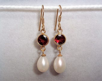 18ct Gold over Sterling Silver Garnet & Freshwater Pearl Drop Earrings.