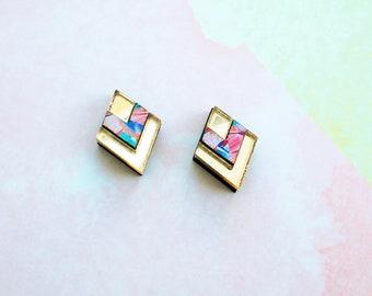 Art deco earrings, art deco jewelry, fashion earrings, surgical steel studs, statement earrings, unique jewelry, gifts for women, gold