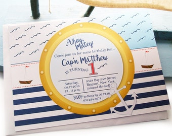 Sailor Birthday Invitation - Sailor First Birthday Invitations - Nautical Invites with Navy and White Stripes - Sailboat Invitation