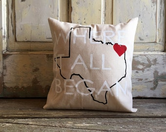 Pillow - Where It All Began pillow | Customize your City, State | Valentines Day, Wedding, Engagement, Anniversary Gift