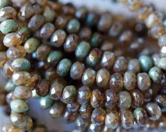 5x3mm Turquoise Beige Luster Mix Rondelle - Faceted Rondelle Mix - Fire Polished Beads - Small Donut Beads - Bead Soup Beads