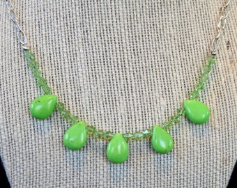 Lime Green Howlite and Crystal Necklace, Teardrop Necklace, Lime Green Necklace, Green Howlite Necklace, Lime Green Crystal Necklace